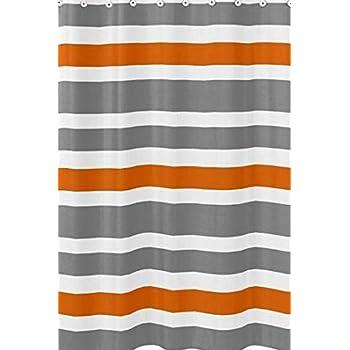Sweet Jojo Designs Gray Orange And White Kids Bathroom Fabric Bath Teen Stripe Shower Curtain