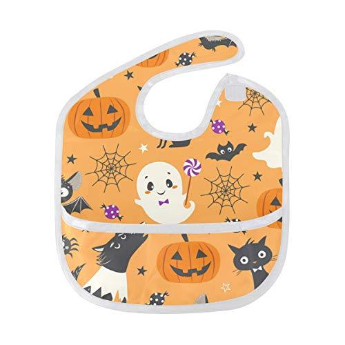 Bib Boy Girl Food Catcher Happy Halloween Pumpkin Wolf Weaning Baby Waterproof Toddler -