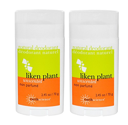 - Earth Science Liken Plant Unscented Deodorant (Pack of 2) With Sage Leaf Extract and Lichen Extract, 2.45 oz. Each