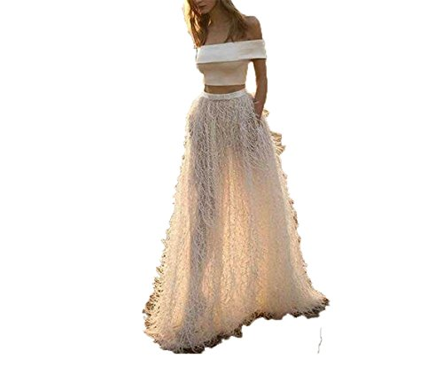 Uryouthstyle Off Shoulder 2017 Two Pieces Wedding Dresses With Ostrich Feather Two Piece Bridal Dress