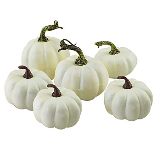 Fan-Ling Halloween Harvest White Artificial Pumpkins Fall Thanksgiving Decor,Simulation Fake Lifelike Props, Garden Home Decor,Halloween Props,Reliable and Non-Toxic (6)