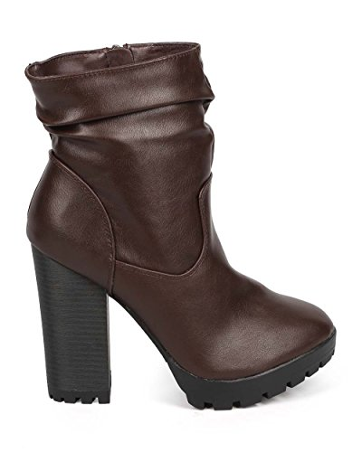 Breckelles DD96 Women Leatherette Round Toe Block Heel Tailored Slouch Boot Brown huo25gsm5g