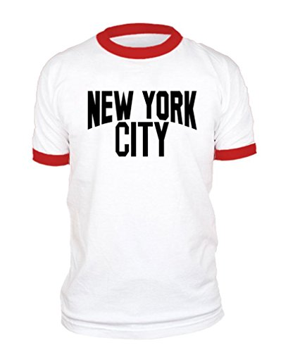 The Goozler New York City Lennon Photo NYC Retro - Ringer T-Shirt, M, White w/Red (Best City Shirts Father Tshirts)