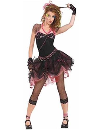 Teen Women's Medium 7-9 Retro 80s Diva Sexy Black Glam Pop Rock Chick Costume