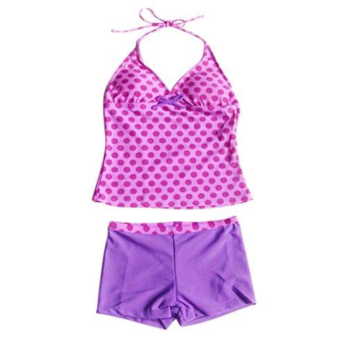 Tankini Pink Dot (MSemis Big Girls' Peace Signs Two Piece Halter Tankini Swimsuits Pink Polka Dots 6)