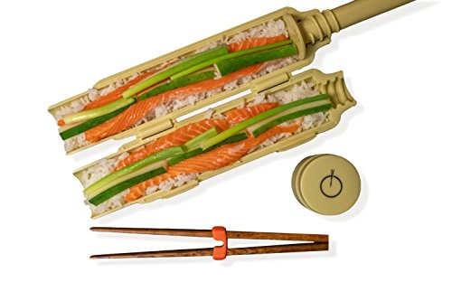 Beginner Sushi Making Gift Set: Sushi Bazooka, Sushi Mat & Wooden Chopsticks With Support By Rollon by Rollon