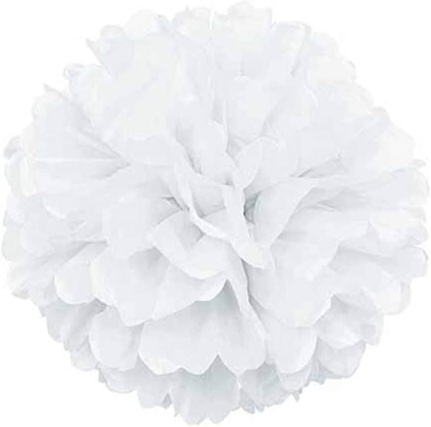 Easy Joy Wedding Paper Decorations Tissue Paper Honeycomb Balls Pom Poms Paper Fans White for Baby Shower Bridal Shower Party Decorations 16 Pcs