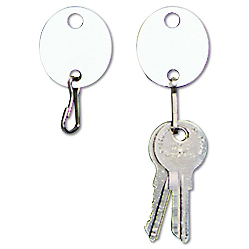 STEELMASTER Oval Snap-Hook Key Tags, Plastic, 1 1/8 x 1 1/4, White, Pack of 20, ()