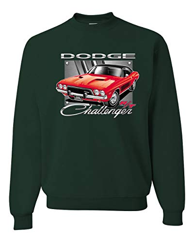 Dodge Challenger R/T Classic Licensed Retro | Mens Cars and Trucks Crewneck Graphic Sweatshirt, Forest Green, Large