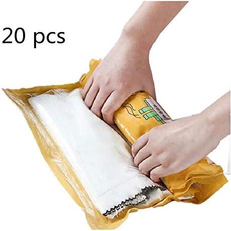 旅行用収納袋 20ピース旅行ハンドロール収納袋旅行オーガナイザー荷物圧縮ポーチセット防水服収納袋旅行や家庭用荷物オーガナイザーのセット ハンドロールアップ再利用可能な服 (色 : Yellow, Size : L)