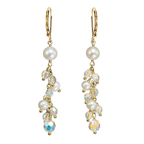 14k Gold Filled Swarovski Aurora Borealis Crystal and Cultured Freshwater Pearl Shower Drop Earrings