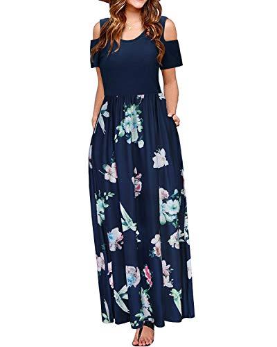 STYLEWORD Women's Summer Cold Shoulder Floral Print Elegant Maxi Long Dress with Pocket(Floral16,S)