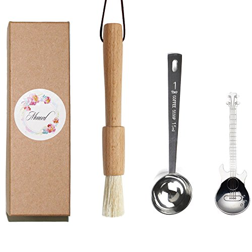Monord Coffee Grinder Brush with Heavy Beech Wood Handle and Natural Bristles,Coffee Scoop Brush,Stainless Steel Coffee Scoop 1 Tablespoon and Mini Spoon for Dessert and Ice Cream