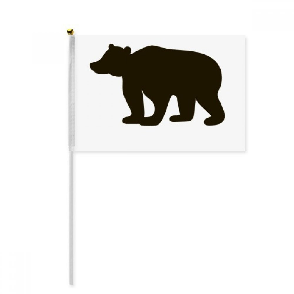 Black Bear Cute Animal Portrayal Hand Waving Flag 8x5 inch Polyester Sport Event Procession Parade 4pcs