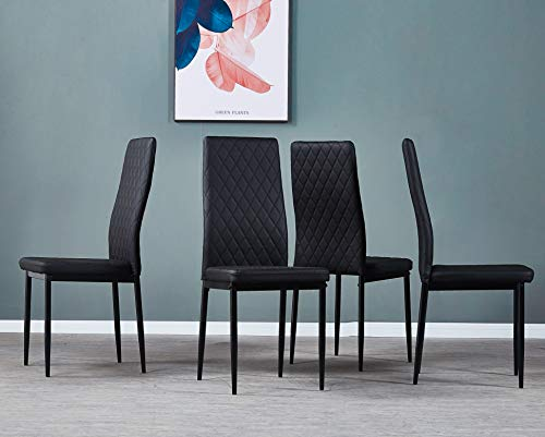 Depointer Pre Assembled Style Mid Century Modern DSW, Shell Lounge Plastic Kitchen, Dining, Bedroom, Living Room Side Chairs Set of 4 Classic-Black , Black-4Pack