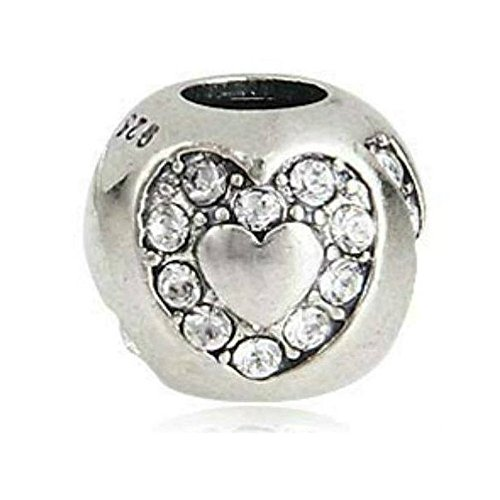 Heart Love Austria Crystal 925 Sterling Silver Charm Fit European Brand Bead Charms