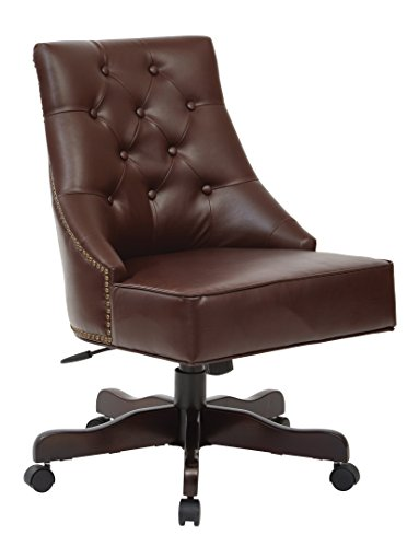 INSPIRED by Bassett Rebecca Bonded Leather Seat and Tufted Back Office Chair with Nailhead Accents, Espresso (Bassett Accent By Chair Inspired)