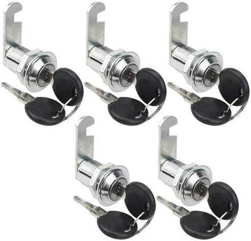 "Cabinet Keyed Cam Locks Tool Box Cabinet Locks w//Cylinder//& Keys TOVOT 5 Pack 61//62/"" 25mm"