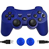 Wireless PS3 Controller, PS3 Controller Gamepad Compatible with Playstation 3, Double Vibration Controller with Charging Cable (Blue) (Color: Blue)