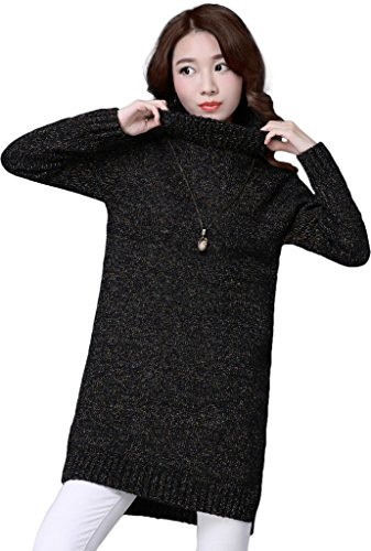 KUBITU Womens Casual Boyfriend Turtleneck Cable Knit Loose Pullover Long Sweater Large Black (Fair Isle Turtleneck Sweater)