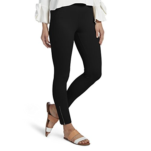 Ankle Skimmer - HUE Women's Ankle Zip Simply Stretch Twill Skimmer Leggings, Ankle Zip-Black, XL