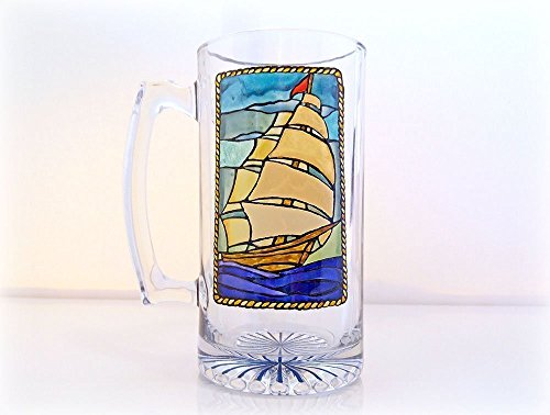 beer-glass-beer-mug-nautical-stein-old-ship-fathers-day-gift-hand-painted-groomsmen-gift-gifts-for-m