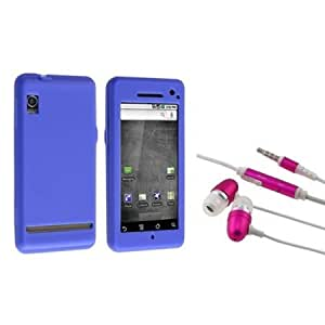 Bloutina Everydaysource Compatible With Motorola A855 Droid Dark Blue Silicone Jelly Skin Case with Hot Pink Stereo Headset...