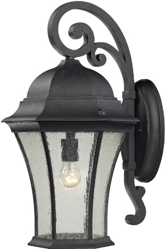 Elk 45052/1 13 by 22-Inch Wellington Park 1-Light Outdoor Wall Sconce with Seedy Glass Shade, Weathered Charcoal Finish ()