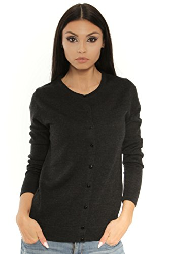 (KNITTONS Women's Wool Crewneck Cardigan Button Up Long Sleeve Sweater (Black Melange, Medium))