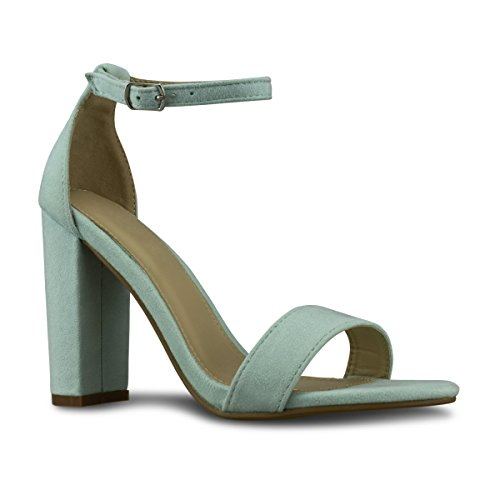 omen's Strappy Chunky Block High Heel - Formal, Wedding, Party Simple Classic Pump, TPS Heels-Yelrihs Baby Green Su Size 7 ()