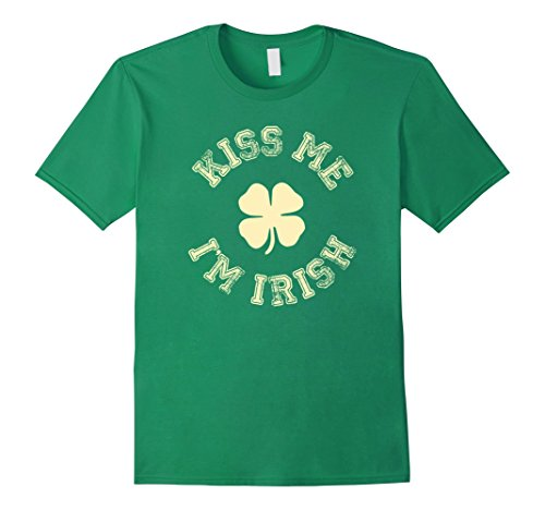 Mens Kiss Me I'm IRISH Shirt St Saint Patrick's Day T-shirt 2XL Kelly Green