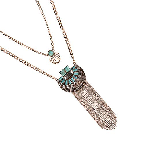1 Piece Retro Pop Crystal Turquoise Tassel Sweater Chain Necklace Golden Necklace Jewelry Crafting Key Chain Bracelet Pendants Accessories Best