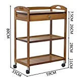 JZX Hospital Trolley, Medical Supplies Rack-Medical Cart Tool 3 Tier Beauty Gallery Trolley with Drawer, Bamboo Medical Utility Cart with Universal Brake Wheel, Hotel/Kitchen Catering Cart,Brown