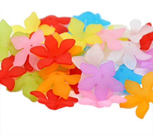 Souarts Mixed Acrylic Frosted Flower Shape Loose Beads Pack of 80pcs
