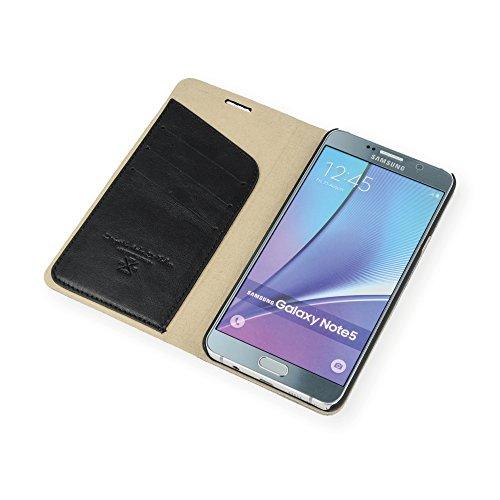 QIOTTI Q. Book Transporteur Premium Étui Livret en cuir véritable pour Samsung Galaxy Note 5–Slim en alcantara Bleu pétrole gris