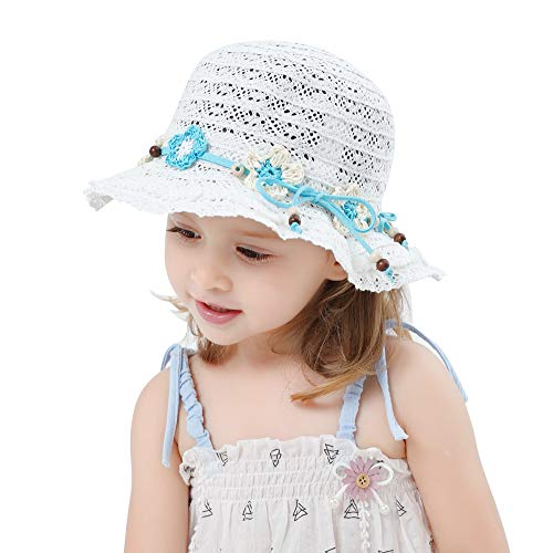 (Baby Toddler Little Girls Floppy Beach Sun Hat with Bowknot Lace Summer Breathable Cap White)