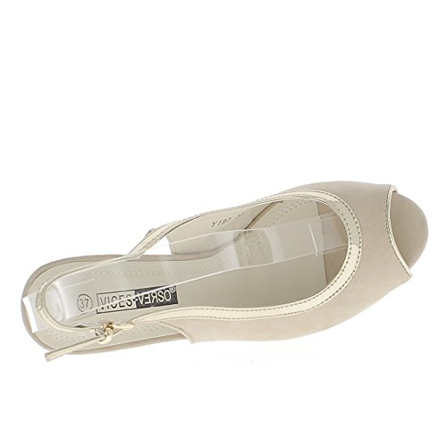 ChaussMoi Ante de aspecto de espesor de 9.5 cm de sandalias beige con tacón plataforma y ribete de oro