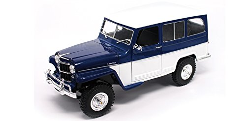 Road Signature New 1:18 SCOLLECTION - Blue/White 1955 Willys Jeep Station Wagon Diecast Model Car
