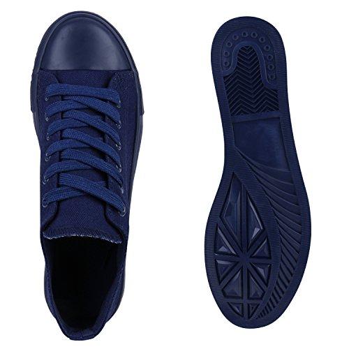 Stiefelparadies Damen Sneakers Spitze Denim Sportschuhe Strass Stoffschuhe Blumen Prints Textil Schuhe Sneaker Low Flandell Dunkelblau Navy