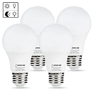 LOHAS LED Dusk to Dawn Light Bulb, Light Sensor Bulbs, Porch Light, A19 6W Daylight 5000K E26 LED Sensor Bulb(Auto on/off), Smart Indoor/Outdoor Lighting Lamp for Garage, Hallway, Yard(4 Pack)