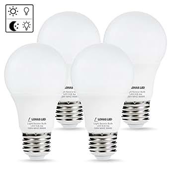 LOHAS LED Dusk to Dawn Light Bulb, Light Sensor Bulbs, Porch Light, A19 6W Daylight 5000K E26 LED Sensor Bulb(Auto on/off), Smart Indoor/Outdoor Lighting Lamp for Garage, Hallway, Yard(4 Pack)