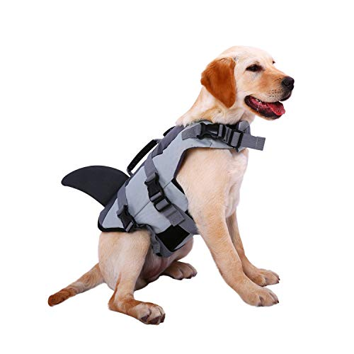 Dog Life Jackets, Ripstop Pet Floatation Life Vest for Small, Middle, Large Size Dogs, Dog Lifesaver Preserver Swimsuit for Water Safety at The Pool, Beach, Boating (XX-Large, Grey Shark) (Shark Xxl)