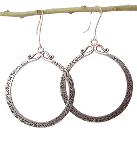 ThaiJewelry WEIGHT 13.5 G. BEAUTIFUL THAI KAREAN HILL TRIBE SILVER CIRCLE EARRING SIZE 40 x 40 MM BY HAND - Thai Bracelet Silver Gemstone