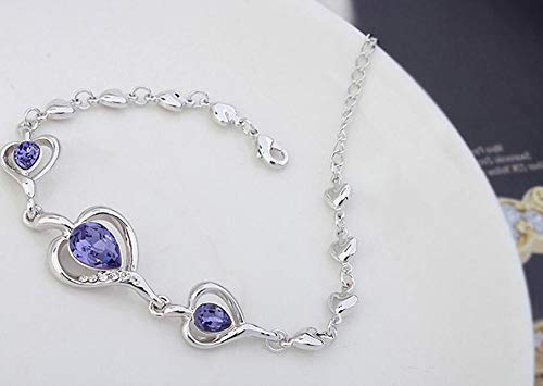 Beautiful and Delicate Bracelet Leng Elegant Pretty Bracelet Fashion Extravagance Luxury Elegant Women's Crystal Bracelet for Birthday Present (Pale Pinkish Purple)