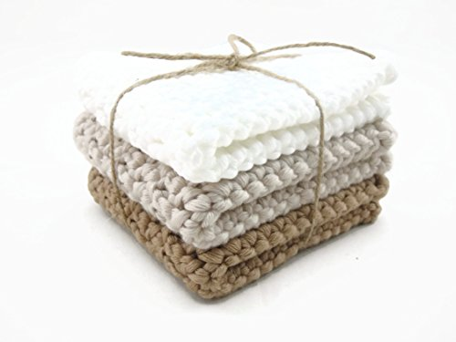 Crochet Cotton Thick Smooth Wash Cloth Face Cloth – White, Beige and Brown
