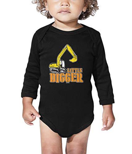 Little Digger - Crane Construction Site Long Sleeve Bodysuit (Black, 18 Months)