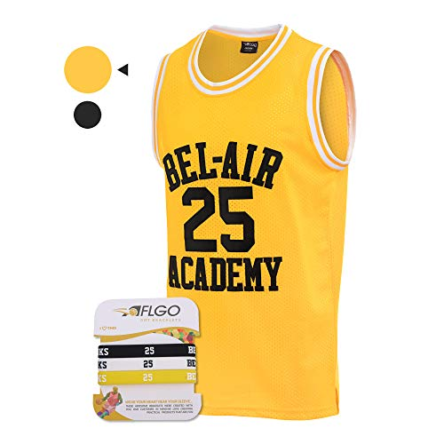 AFLGO The Fresh Prince of Bel-Air 25 Academy Carlton Banks Basketball Jersey Include Set Wristband Bracelets S-XXL (Yellow, ()