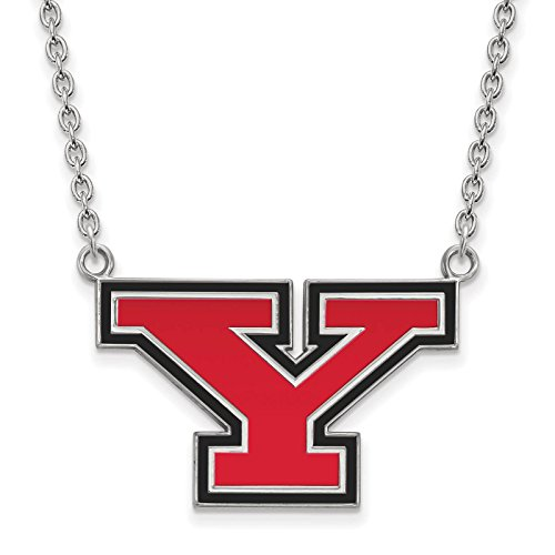 925 Silver Rhodium-plated Laser-cut Youngstown State University Large Enameled Pendant w/Necklace 18