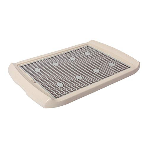 Classic Extra Large Flat Dog Litter Tray Toilet Potty Teddy Golden Retriever Large Dog with Column Cozy Vertical Grille Corrosion-Resistant Easy to Clean (Color : Ivory White, Size : -