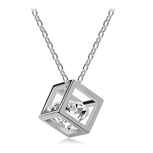 Angels Luggage Tag (Botrong Women Chain Crystal Rhinestone Square Pendant Alloy Necklace Jewelry (Silver))